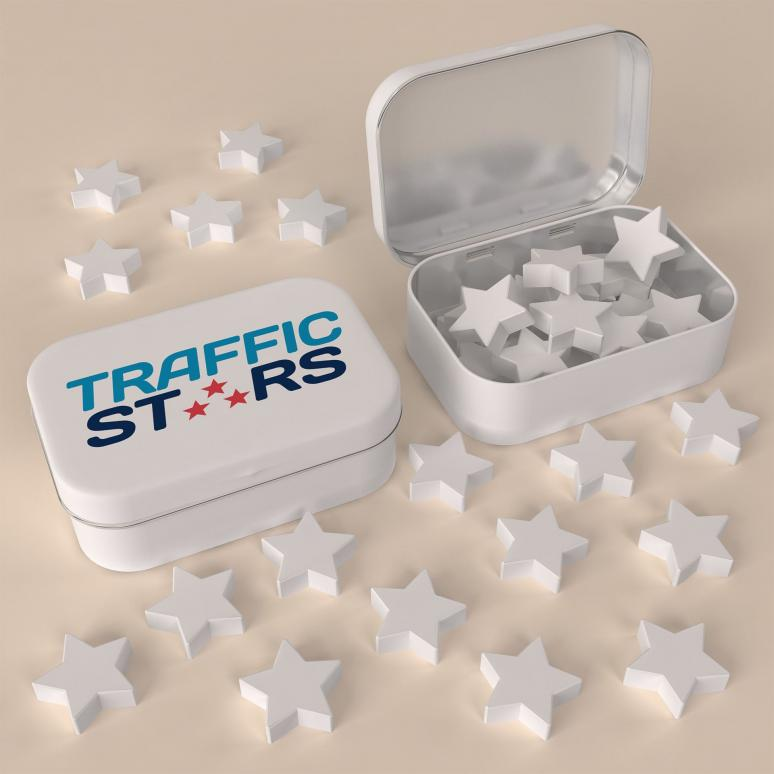 Star shaped peppermints in 3-c printed personalised tin